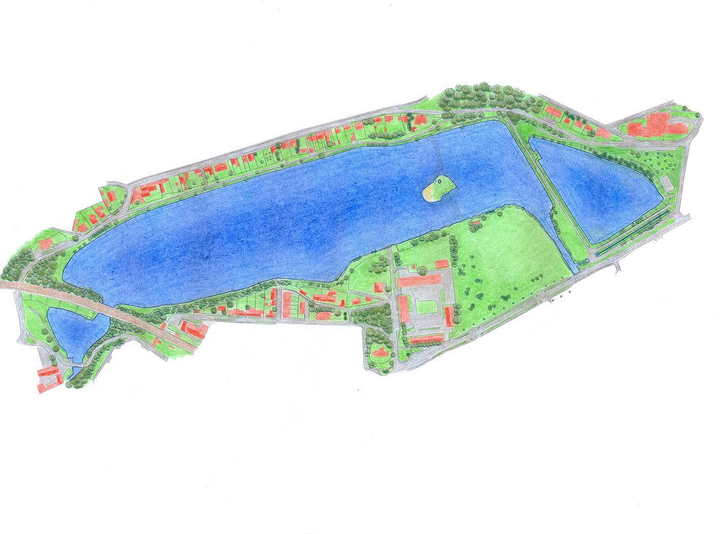 Geodetické práce na odbahnění Kyjského rybníka